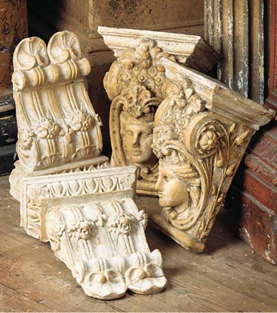 A PAIR OF ENGLISH PLASTER CORB