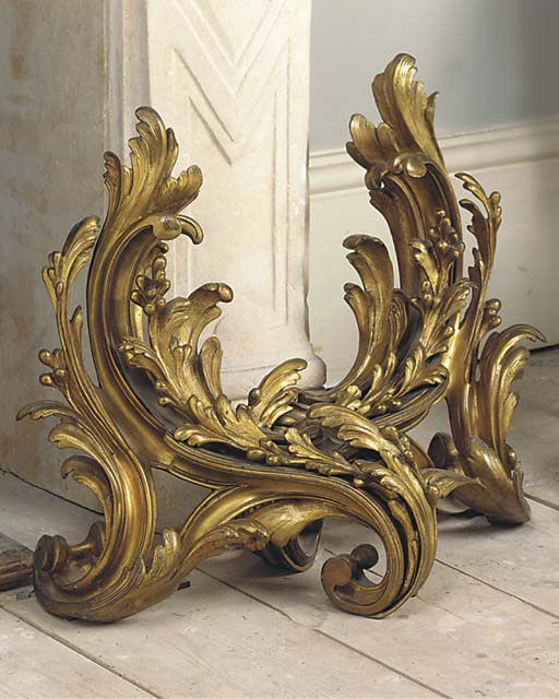 A PAIR OF GILT BRONZE CHENETS