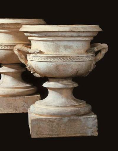 A pair of English terracotta u