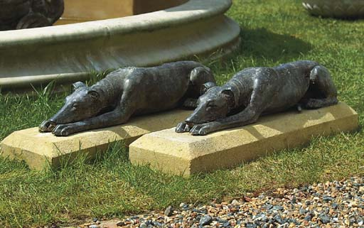 A PAIR OF LEAD WHIPPETS