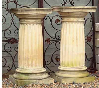 A PAIR OF FRENCH LIMESTONE PED
