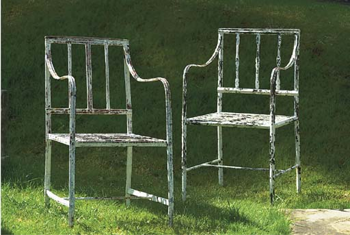 TWO ENGLISH WROUGHT IRON CHAIR