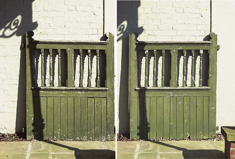 A PAIR OF GREEN PAINTED WOOD G