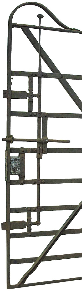 A WROUGHT IRON EQUESTRIAN GATE