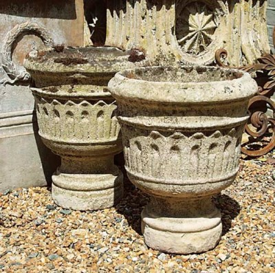 A PAIR OF FRENCH LIMESTONE URN