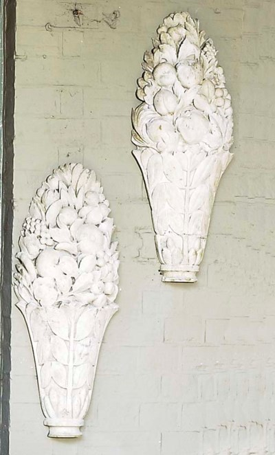 A PAIR OF ISTRIAN MARBLE FLORA