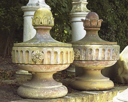 A PAIR OF ENGLISH TERRACOTTA F