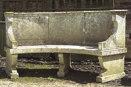 A PORTLAND STONE GARDEN SEAT