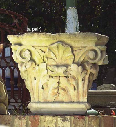 A PAIR OF LIMESTONE CORINTHIAN