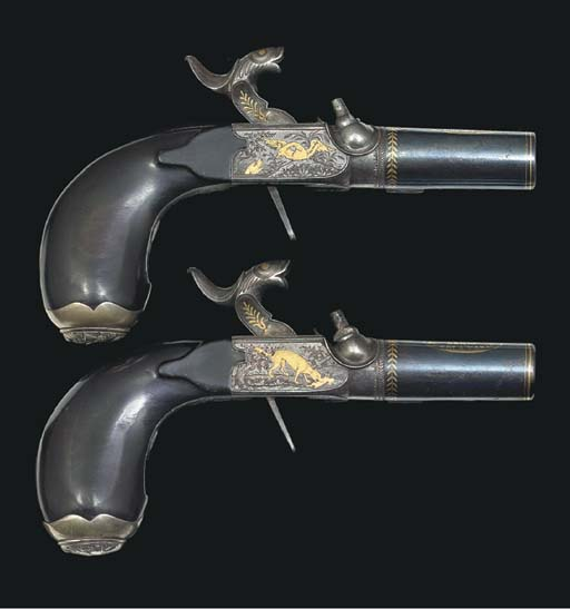 A PAIR OF 40-BORE FRENCH PERCU