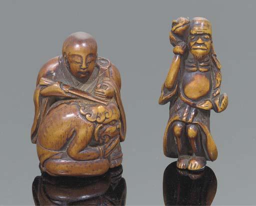 A Japanese wood netsuke of sennin, 19th Century