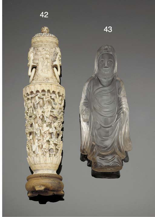 A Chinese ivory vase and cover