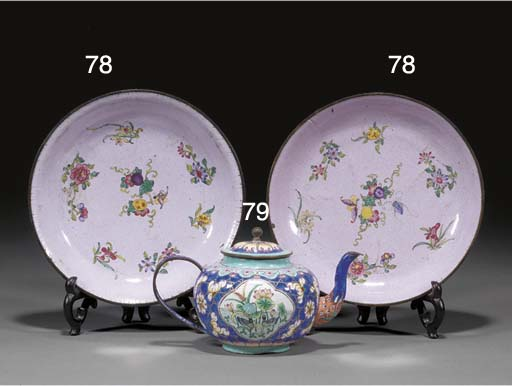 A pair of Canton enamel pink g
