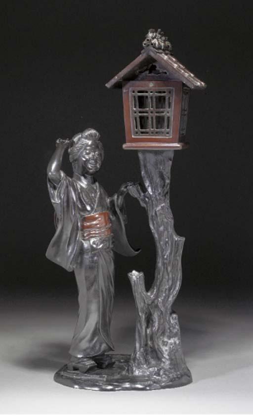 A Japanese patinated bronze la