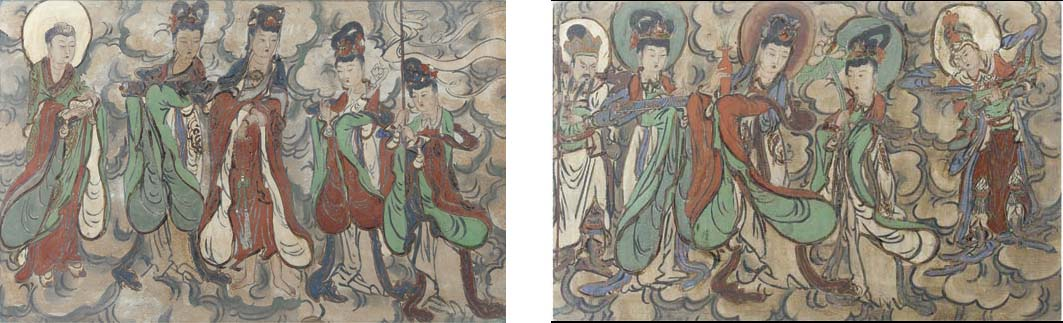 A pair of Chinese painted fres