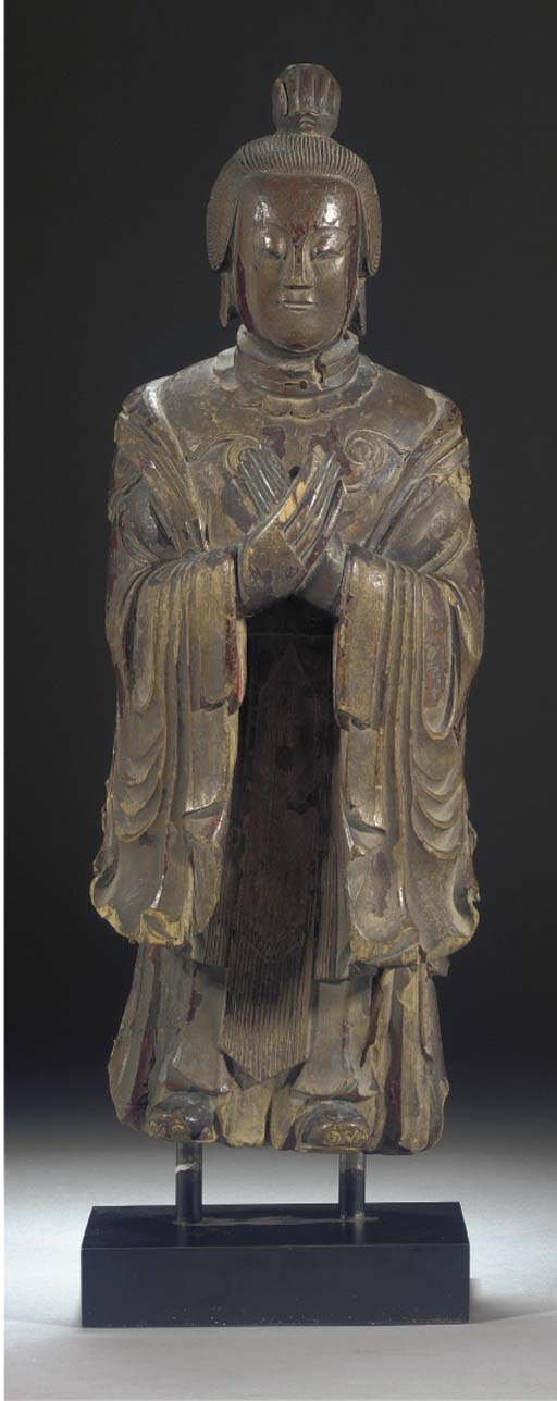 A Chinese wooden carving of a