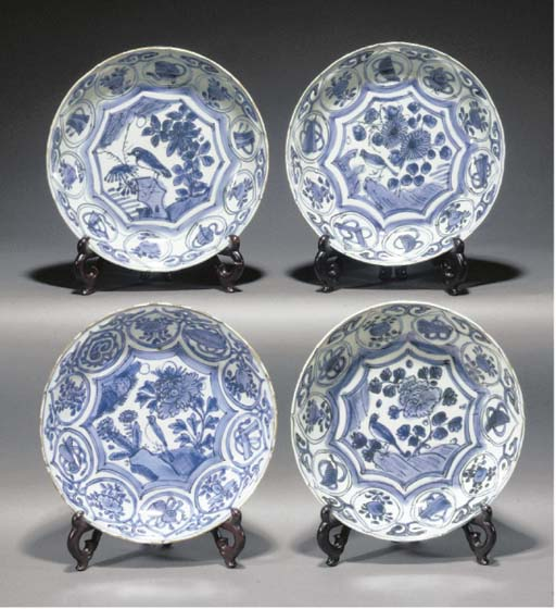 Four Chinese blue and white Kr