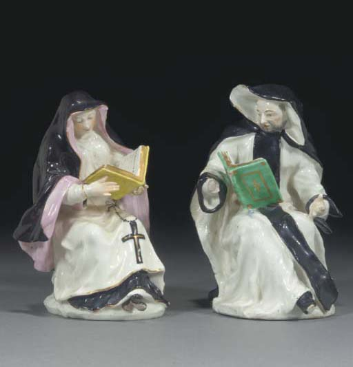 A pair of Bow figures of a mon