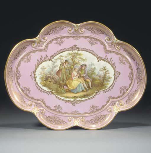 A Meissen shaped oval pink-gro