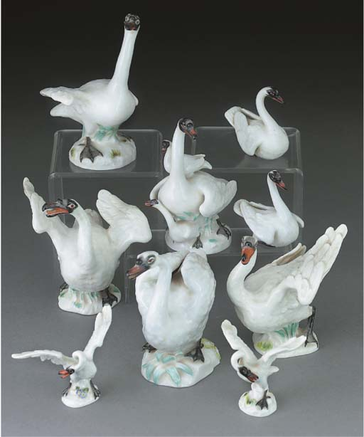 Five various Meissen models of