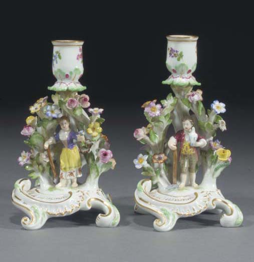 A pair of Meissen chamber-cand