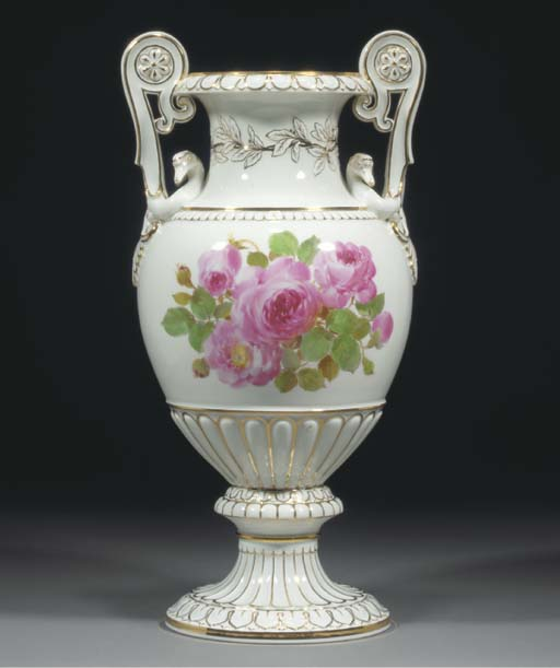 A Meissen two-handled oviform