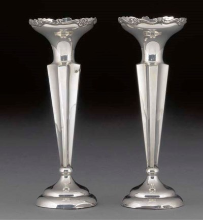 A Pair of George V Silver Vase