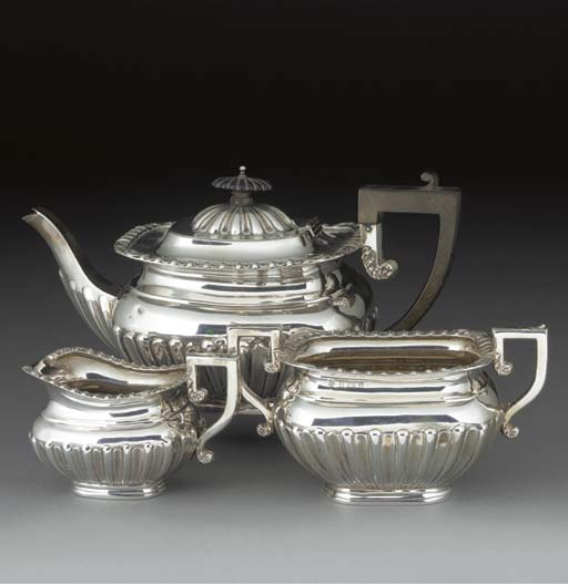 A Three-Piece Edwardian Silver
