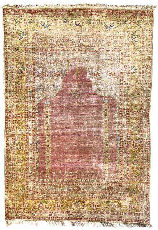 A very fine Tabriz silk prayer
