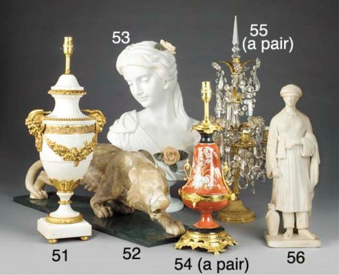 A gilt metal mounted marble ur