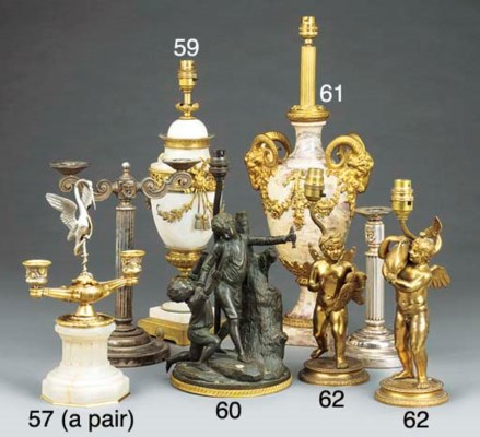A gilt bronze mounted alabaste