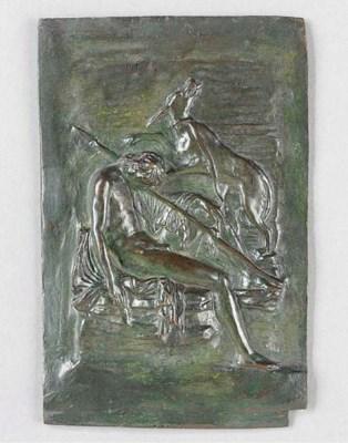 A bronze relief plaque depicti