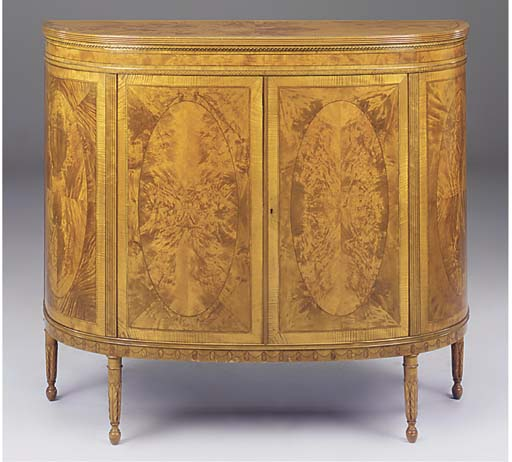 A SATINWOOD AND MARQUETRY SEMI