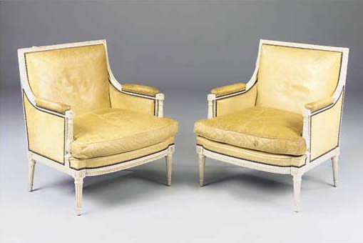 A PAIR OF CREAM PAINTED MARQUI