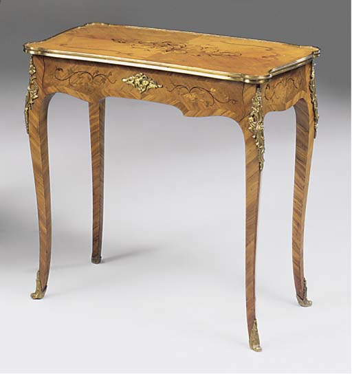 A FRENCH KINGWOOD MARQUETRY AN