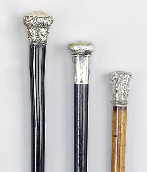 A silver mounted ebony cane