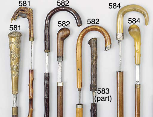 A Continental wood sword stick