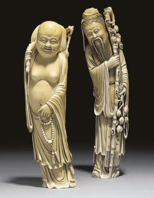 Two Chinese ivory models of im