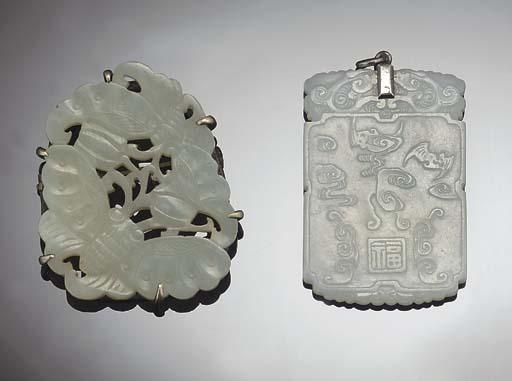Two Chinese celadon jade penda