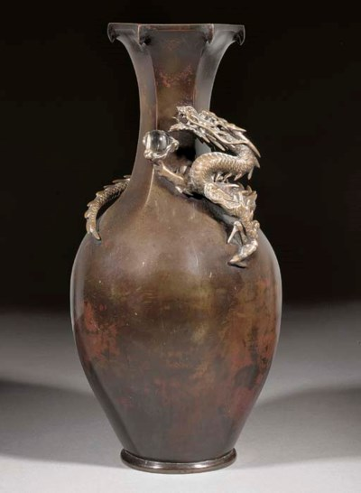 A Japanese patinated bronze va