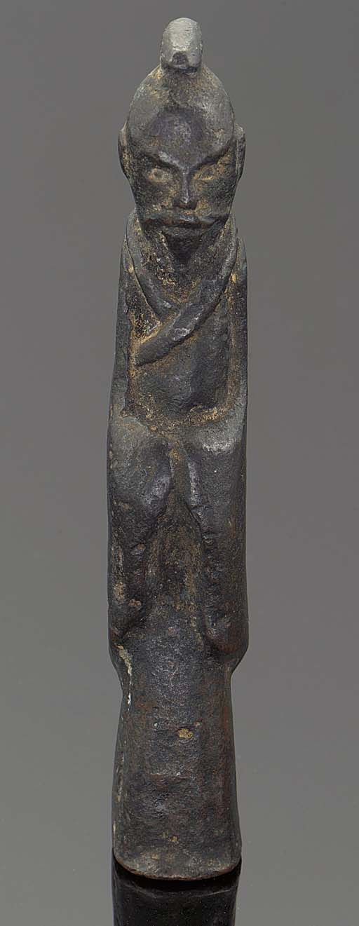 A Chinese bronze model of a st