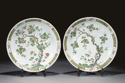 A pair of famille verte charge
