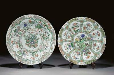 Two famile verte dishes, Kangx