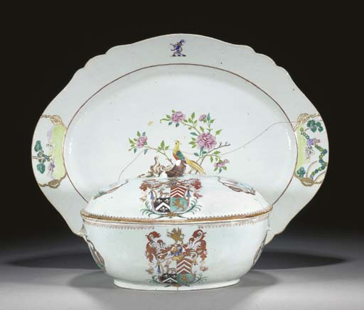 A Chinese export armorial oval