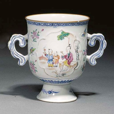 A famille rose two handled ste