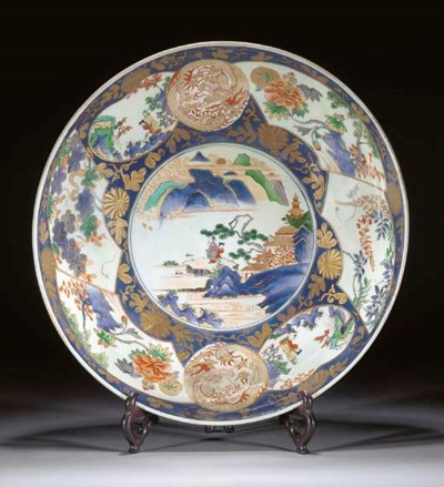 A large Arita charger, 18th ce