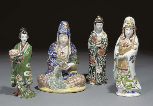 Four Japanese polychrome figur