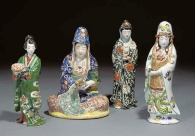 Four Japanese polychrome figur