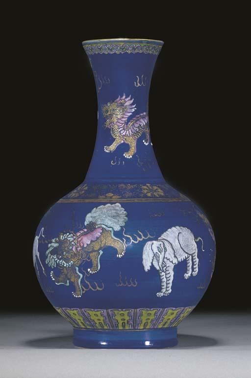 A powder blue ground bottle va
