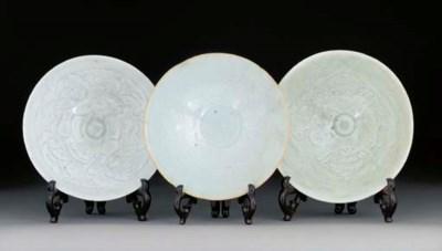 Three yingqing flaring bowls,